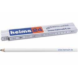 heima24-Handwerker-Set: Qualitäts-Holzgliedermaßstab 2 m & Handwerker-Bleistift mit Allesschreibermine