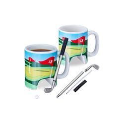 relaxdays Tasse 2 x Golftasse mit Schläger, Keramik