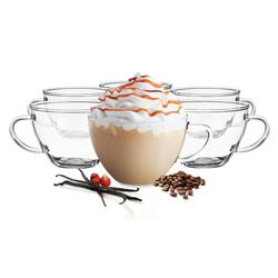 Sendez Gläser-Set 6 Cappuccino-Tassen mit Unterteller Kaffeegläser Teegläser 250 ml Teeglas Borosilikat