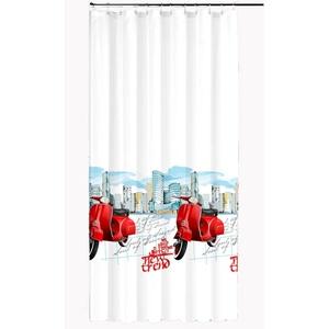 Ekershop EDLER Textil Duschvorhang 240 x 200 cm City Mofa Weiß Rot Blau inkl. Ringe