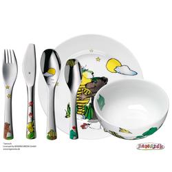 WMF Kinderbesteck JANOSCH Set 6 teilig mit Teller und Müslischale aus Porzellan