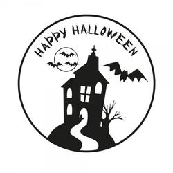 Halloween Holzstempel - Haus (50x50 mm)