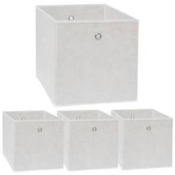 Faltbox Set 4 Boxen für Kallax Regal weiß 33x38x33cm Expedit Box mit Metallgriff