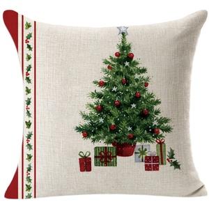 FeiliandaJJ Pillowcase Christmas, kissenhülle Kopfkissenbezug Weihnachten Dekoration Kissenbezug Beige Baumwolle Super weich Sofakissen für Wohnzimmer Sofa Bed Home,45x45cm (A)