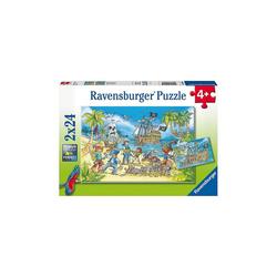 Ravensburger Puzzle Puzzle Die Abenteuerinsel, 2x24 Teile, Puzzleteile
