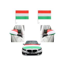 Sonia Originelli Fahne Auto Fan-Paket Haubenfahne Fensterfahnen Spiegelfahnen Magnetflaggen Ungarn Hungary, Fanartikel für das Auto in Ungarn-Farben Fanset-10XL