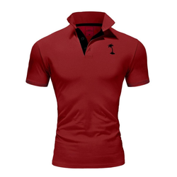 behype Poloshirt PALMSON mit kontrastfarbigen Details rot L