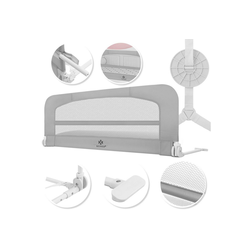 KESSER Bettschutzgitter, Babybettgitter Kinderbettgitter klappbar tragbar Kinderbett Rausfallschutz Bett & Boxspringbett 42cm Höhe Gitter für Babys und Kinder grau 180 cm