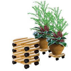 BigDean Blumentopfuntersetzer Pflanzenroller rund Buchenholz massives Holz 30 cm bis 120 Kg Rolluntersetzer, 4-tlg.