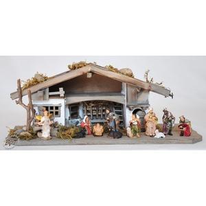 BTV Premium Weihnachtskrippe + Zubehör, massiv Vollholz Massivholz komplett MIT hochwertigen Premium Figuren, Krippe MIT Figuren und Zubehör, Krippenstall Weihnachten Krippenzubehör