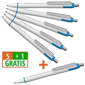 5+1 GRATIS: 5 Schneider Kugelschreiber Slider Xite weiß Schreibfarbe blau + GRATIS 1 Schneider Kugelschreiber Slider Xite weiß Schreibfarbe blau