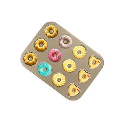 Homewit Backform 12 Mulden Muffinbackform, (Set 1-tlg), 35 x 26,4 x 3cm Muffinform für 12 Muffins, Donut Backblech aus Kohlenstoffstahl, Mit Antihaftbeschichtung, 4 verschidenen Motivs Donut Backblech für Kuchen Muffin usw