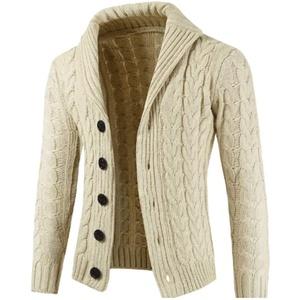 QJKai Herren Strickjacke mit Schalkragen Pullover beiläufige gestrickte Kabel Button-Down-Jumper Langarm warme weiche Winter Strick Jacke (Color : A, Size : XXXL)