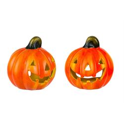 BigDean Windlicht Kürbis 10x11 cm Halloween Dekoration Herbstdeko Teelichthalter aus Keramik (2 Stück)