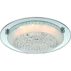 LED Deckenleuchte, Chrom, klare Kristalle, rund, D 31,5 cm, inkl. LED