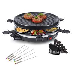 PRINCESS Raclette, 6 Raclettepfännchen, 800 W, Modernes Raclette Gerät für 2-6 Personen, runder Tischgrill Ø30cm mit 800 Watt, Raclet Camping geeignet