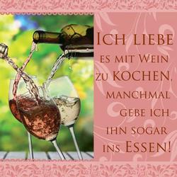 """H&H Romantisches Geschirrtuch """"Ich liebe es mit Wein zu kochen... ins Essen"""""""