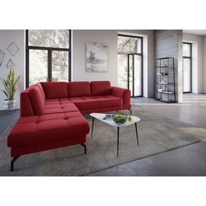 sit&more Ecksofa Bendigo V, inklusive Sitztiefenverstellung, Bodenfreiheit 15 cm, wahlweise in 2 unterschiedlichen Fußfarben rot