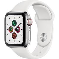 Apple Watch Series 5 GPS + Cellular 40 mm Edelstahlgehäuse, sportarmband weiß