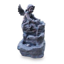 Kiom Dekoobjekt Gartenbrunnen Figurenbrunnen FoAngelo Led 74 cm