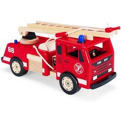 LeNoSa Spielzeug-Feuerwehr Großes 45cm Kinder Feuerwehrauto aus Holz vom Gummibaum