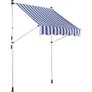 CLP Klemm-Markise Westerly I Ohne Bohren I Höhenverstellbar I UV50+ I Wasserdicht, Farbe:weiß/blau, Größe:250x120 cm