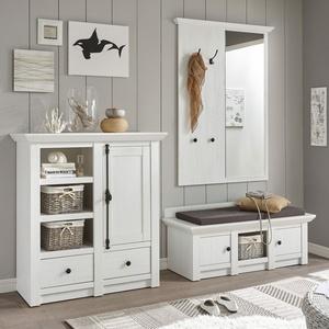 Garderobe Westerland - Landhaus Pinie Weiß - Set 1