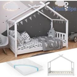 VITALISPA Kinderbett Hausbett DESIGN 80x160cm Weiß Zaun Kinder Holz Haus Hausbett mit Matratze