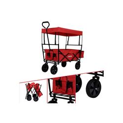 Arebos Bollerwagen Bollerwagen ECO mit Dach, Zusammenfaltbar, mit Ziehstange, Traglast 70 kg, Maße 117 x 55 x 125 cm rot