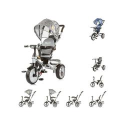 Chipolino Dreirad Tricycle Rapido Dreirad 5 in 1, drehbarem Sitz, Schiebegriff, Dach grau