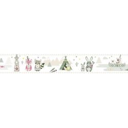 anna wand Bordüre Little Indians beige/olive/pink, Indianer