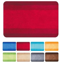 Spirella Badematte | kuscheliger Hochflor | Rutschfester Badvorleger | viele Größen | waschbar 40° | 90x60 cm | Rot