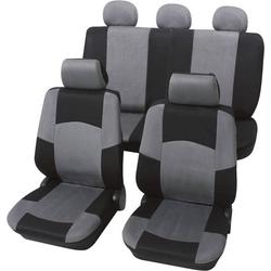 Petex 24274918 Classic Sitzbezug 17teilig Polyester Schwarz, Grau Fahrersitz, Beifahrersitz, Rücksi