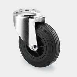 Transportrolle, drehbar, 200 mm, schwarzer gummi, mittelloch