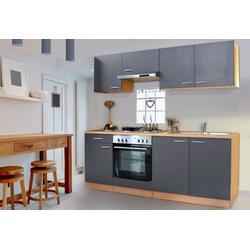 Küchenzeile Basic, mit Edelstahl-Kochmulde, Breite 210 cm grau
