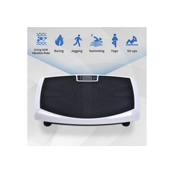 Masbekte Vibrationsplatte, 4D-Vibrationsplatten Trainingsgerät, dreimotorige 4D-Vibrationsplattform mit LED-Licht und Bluetooth-Lautsprecher, Ganzkörper-Vibrationsgerät für Heimfitness weiß