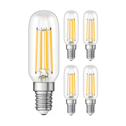 E14 LED Kühlschrank-Leuchtmittel klar T25 kaltweiß 6000K 4W = 40W 470lm, 5 Stk.