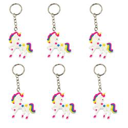 6 x Schlüsselanhänger Einhorn Unicorn Anhänger Mitgebsel Regenbogen