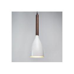 Licht-Erlebnisse Pendelleuchte MUZA Runde Pendelleuchte Weiß Gold Holz dunkel Küche Wohnzimmer Flur Lampe