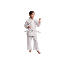 IPPON GEAR Karateanzug Club Karate GI Set Einsteiger Karateanzug Kinder Anzug inkl. Gürtel, [Größe 200 I Gummizug an der Hose I 220gr/m² (8 oz) Stoffdichte] weiß 200