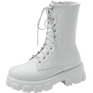 Celucke Biker Boots Damen Stiefeletten mit Blockabsatz und Reißverschluss, Klassische Winterstiefel im Military-Stil, Schnürstiefel Combat Boots (Weiß, 41)
