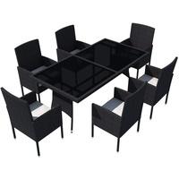 vidaXL Polyrattan Set 7-tlg. schwarz/cremeweiß