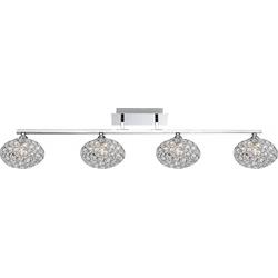 Elegante Deckenleuchte chrom Kugeln mit klaren K9 Kristallen  - Globo EMILIA 67017-4D