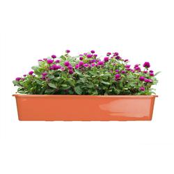 BigDean Blumenkasten für den Balkon − 2x Balkonkasten 80 cm Terrakotta (2 Stück) braun 80 cm