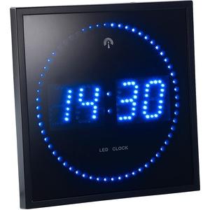 LED-Funk-Wanduhr mit Sekunden-Lauflicht durch blaue LEDs