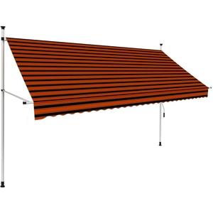 UnfadeMemory Einziehbare Markise Handbetrieben Außenmarkise Terrassenmarkise Manuell Balkonmarkise Sonnenschutz Markise Außenbereich (300 cm Orange/Braun)