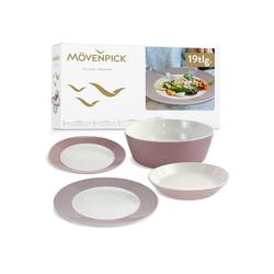 MOEVENPICK Tafelservice Mövenpick 19tlg Dinner Set Montreux Berry Mix (19-tlg), Porzellan, Geschirrset 6 Personen, Spülmaschinengeeignet