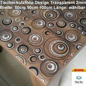 Tischfolie Tischdecke Schutzfolie 2mm Kreise PVC Transparent Klar 80/90/100cm