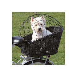 TRIXIE Tierfahrradkorb Großer Weiden - Fahrradkorb, inkl. Kissen bis 8,00 kg, mit Kissen schwarz