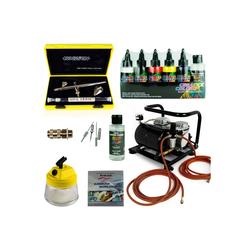 Airbrush-City Druckluftwerkzeug Fine-Art Airbrush Set - Evolution Silverline Two in One + Sparmax AC-500 Kompressor - Kit 9202, (1-St)